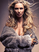 Gold Jacket Posters - Beautiful woman with flying blond hair wearing fur Poster by Oleksiy Maksymenko