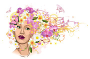 Hairstyle Mixed Media Posters - Beautiful woman with hair made of flowers Poster by Christos Georghiou