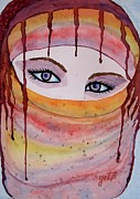 Portrait Of Woman Originals - Beautiful Woman with Niqab watercolor painting by Georgeta  Blanaru