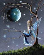 Bright Moon Prints - Beautiful World Of Fairies by Shawna Erback Print by Shawna Erback