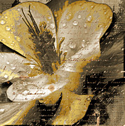 Autumn Leaf On Water Mixed Media Prints - Beautiful Print by Yanni Theodorou