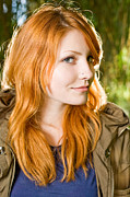 Gray Jacket Prints - Beautiful young redhead girl outdoors. Print by Alstair Thane