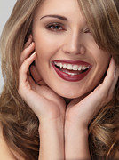 Make-up Posters - Beautiful young smiling woman face Poster by Oleksiy Maksymenko