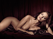 Maroon Prints - Beautiful Young Woman Lying Naked in Bed Print by Oleksiy Maksymenko