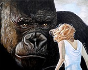 Gorilla Paintings - Beauty and her Beast by Al  Molina