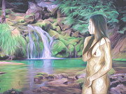 Nudes Art - Beauty By The Falls by Oscar Del Mundo