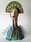 Sculpture Ceramics Framed Prints - Beauty of a Mother Framed Print by Agnieszka Parys-Kozak
