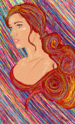 Hair Abstract Art Paintings - Beauty Of Hair Abstract by Kenal Louis