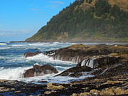 Exciting Surf Prints - Beauty of Oregon Coast Print by Denise Darby
