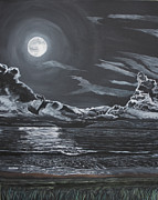 Sea Moon Full Moon Painting Originals - Beauty of the Night by Ian Donley