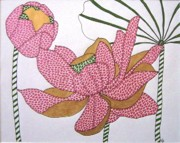 Lotus Bud Paintings - Beauty of the Spirit IV by Kruti Shah