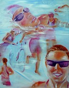 Ironman Painting Posters - Beauty of the Triathlon Poster by Sandy Ryan