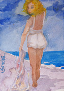 Beach Towel Prints - Beauty on the Beach Print by Sandra Stone
