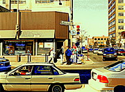Store Fronts Posters - Beautys Luncheonette Deli Cafe On Mount Royal Corner St. Urbain Busy Montreal Traffic City Scene Poster by Carole Spandau