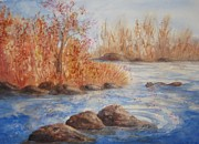 Autumn Landscape Mixed Media Prints - Beaver Pond Print by Ellen Levinson