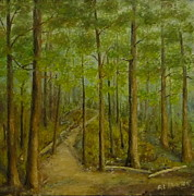 Beaver Pond Paintings - Beaver pond trail by Al Hunter