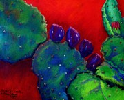 Blues Pastels Posters - Beavertail Cactus  Pastel Poster by Antonia Citrino