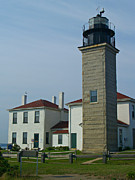Island Light Photos - Beavertail Light and Museum by Anna Lisa Yoder