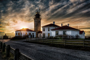 Carroll Posters - Beavertail Lighthouse Sunset Poster by Joan Carroll