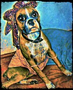 Big Eye Dog Prints - BEB Boxer Print by Tisha McGee