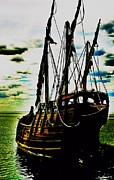 Wooden Ship Digital Art Posters - Becalmed Poster by Blair Stuart
