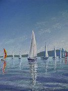 Sailboats In Water Pastels Prints - Becalmed On Bellingham Bay Print by Pamela Heward