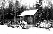 Old Mills Photos - Becky Cable Mill in snow by Terena Boone