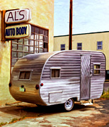 Fireball Posters - Beckys Vintage Travel Trailer Poster by Michael Pickett