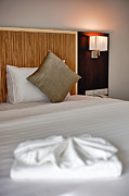 Business-travel Framed Prints - Bed in Hotel room Framed Print by Fototrav Print