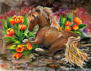 Horse Paintings - Bed of Tulips by Sherry Shipley