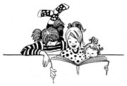 Ink Drawings - Bed time stories by Sladjana Vasic