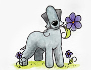 Sympathy Drawings Metal Prints - Bedlington Terrier - Spring Puppies Metal Print by Connie Krohn