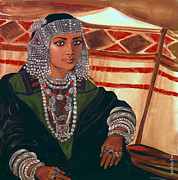 Jewellery Mixed Media Posters - Bedouin Bride  Poster by Jean Marie Bowcott