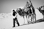 Camel Photo Prints - bedouin guide in modern clothing leads british tourists riding camels and wearing desert clothes into the sahara desert at Douz Tunisia Print by Joe Fox