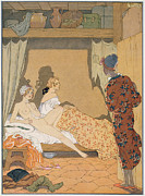 Blanket Prints - Bedroom Scene Print by Georges Barbier