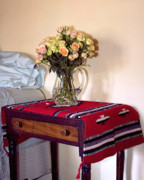 Interior Still Life Photo Metal Prints - BEDSIDE STILL LIFE ROSES Palm Springs Metal Print by William Dey
