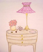 Flower Design Pastels Prints - Bedside Table Print by Christine Corretti