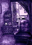 Kitchenette Posters - Bedsit Refuge In Purple Poster by Leanne Seymour