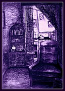 Kitchenette Posters - Bedsit Refuge In Purple - With Border Poster by Leanne Seymour