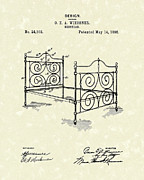 Support Drawings Framed Prints - Bedstead 1895 Patent Art Framed Print by Prior Art Design