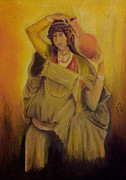 Fabric Pastels Prints - Beduin Woman from1920s Print by Serran Dalmak