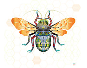 Flying Bugs Framed Prints - Bee-Gee Framed Print by Greg Gwynne