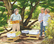 Moab Painting Prints - Bee Mans Visit to Horsethief Spring Print by Jeff Mathison