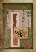 Calligraphy Prints - Bee Papers Print by Carol Leigh