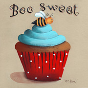 Red And White Polka Dot Prints - Bee Sweet Cupcake Print by Catherine Holman