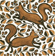 Color Symbolism Painting Prints - Beechnut Squirrels Print by Nat Morley