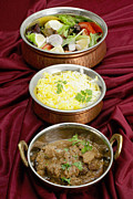 Bowls Framed Prints - Beef rogan josh with rice and salad Framed Print by Paul Cowan