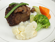 Green Bean Posters - Beef tournedos with veg Poster by Paul Cowan