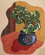 Art Quilts Tapestries Textiles Prints - Beefsteak Begonia Print by Lynda K Boardman