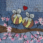 Cherry Tapestries - Textiles Prints - Beeing In Love Print by Julie Bull